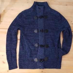 Express blue knit, zipper&toggle, sweater, szS